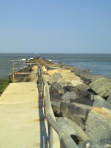 The North wall of The Indian River Inlet