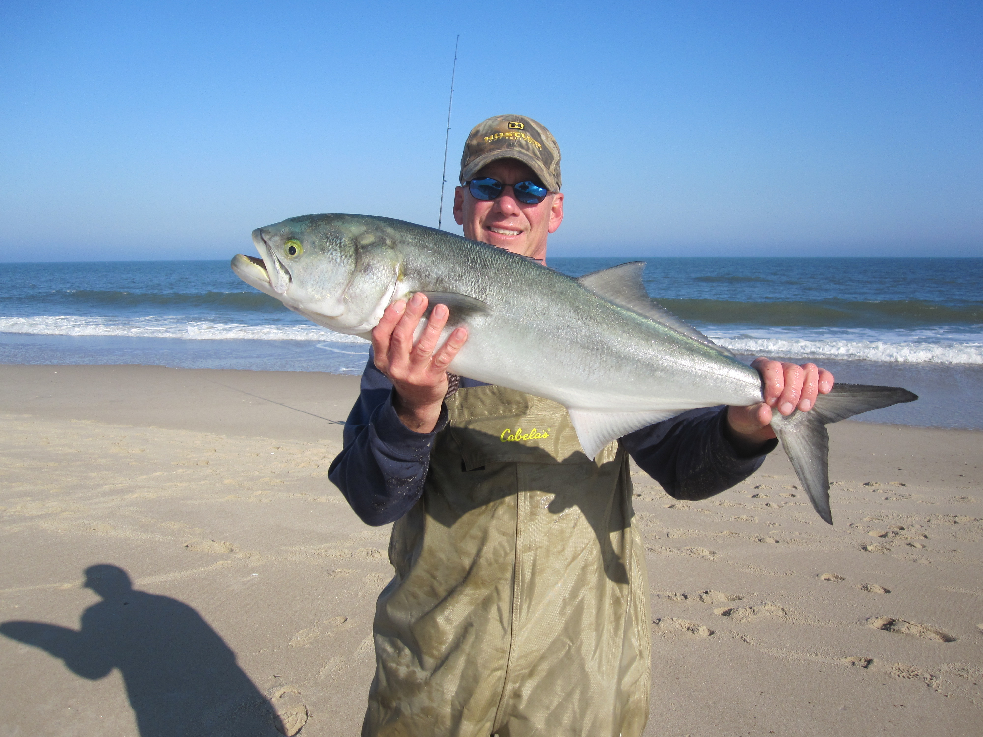 Big blue fish surf fishing in delaware and boaters be wary for Big island fishing