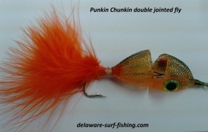 punkin chunkin fly, jointed flies, specialty fly tying, saltwater fly anglers of delaware