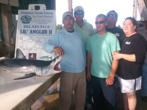 mako shark, delaware family fishing, dsf, lewes harbor marina,