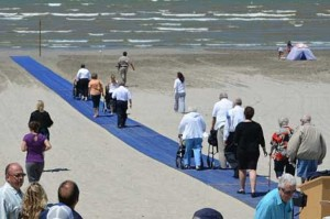 Beach access mats used to create accesability for disabled visitors