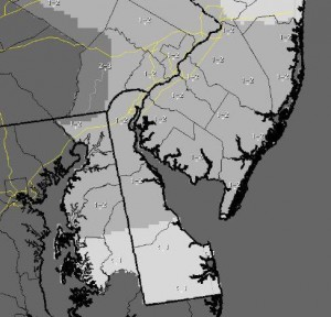 NWS snow map for Tuesday 1/6/2015