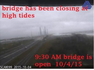 9:20 Am bridge is open 10/4/15 ..  expect to close at next high tide